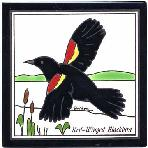 Red Winged Black-Bird Tile,Red Winged Black-Bird Wall Plaque,Red Winged Black-Bird Trivet