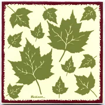 Maple leaves  as a tile, trivet, or wall plaque. Can be used in a kitchen backsplash or bathroom tile.