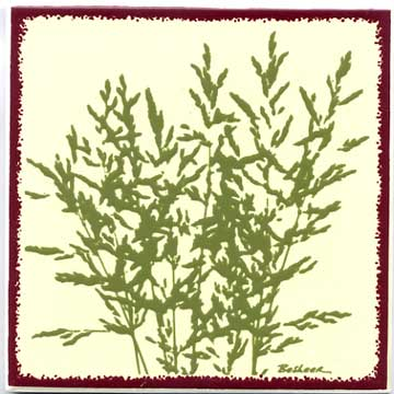 Botanical meadow Grass as a tile, trivet, or wall plaque. Can be used in a kitchen backsplash or bathroom tile.