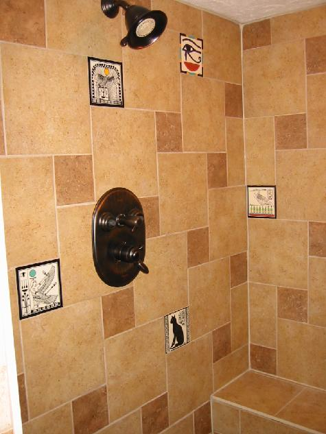 Egyptian tiles made by Besheer Art Tile for shower installation. Field tiles by Daltile or American Olean