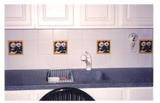 KITCHEN BACKSPLASH USING A CUSTOM PANDA TILE MADE EXPRESSLY FOR THE NATIONAL ZOO